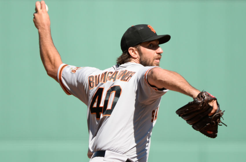 BOSTON, MA - SEPTEMBER 19: Madison Bumgarner #40 of the San Francisco Giants pitches in the first inning against the Boston Red Sox at Fenway Park on September 19, 2019 in Boston, Massachusetts. (Photo by Kathryn Riley/Getty Images)