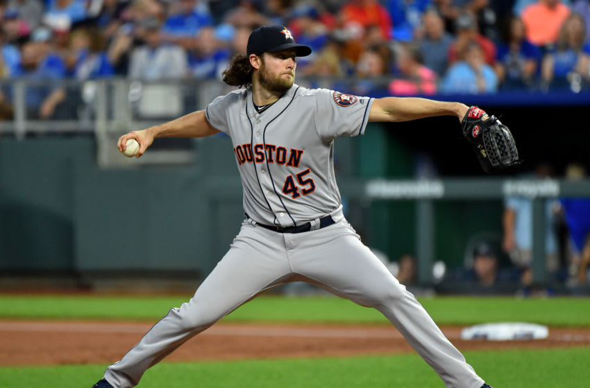 KANSAS CITY, MISSOURI - SEPTEMBER 13: Starting pitcher Gerrit Cole #45 of the Houston Astros throws against the Kansas City Royals in the first inning at Kauffman Stadium on September 13, 2019 in Kansas City, Missouri. (Photo by Ed Zurga/Getty Images)