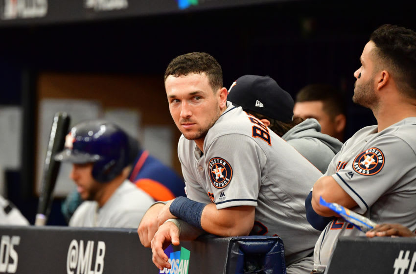 ST PETERSBURG, FLORIDA - OCTOBER 07: Alex Bregman #2 of the Houston Astros looks on against the Tampa Bay Rays during the sixth inning in Game Three of the American League Division Series at Tropicana Field on October 07, 2019 in St Petersburg, Florida. (Photo by Julio Aguilar/Getty Images)