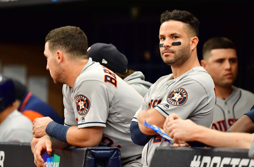 ST PETERSBURG, FLORIDA - OCTOBER 07: Jose Altuve #27 of the Houston Astros looks on against the Tampa Bay Rays during the sixth inning in Game Three of the American League Division Series at Tropicana Field on October 07, 2019 in St Petersburg, Florida. (Photo by Julio Aguilar/Getty Images)