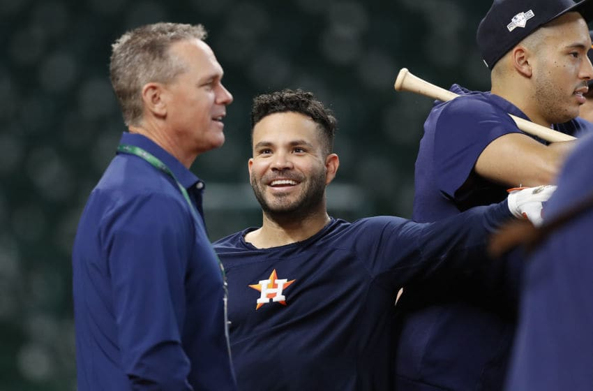 HOUSTON, TEXAS - OCTOBER 10: Jose Altuve #27 of the Houston Astros talks with former Astro Craig Biggio prior to game five of the American League Division Series against the Tampa Bay Rays at Minute Maid Park on October 10, 2019 in Houston, Texas. (Photo by Tim Warner/Getty Images)