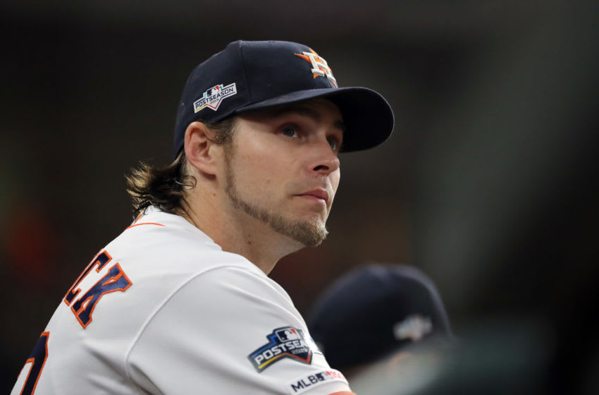 HOUSTON, TEXAS - OCTOBER 19: Josh Reddick #22 of the Houston Astros looks on against the New York Yankees during the third inning in game six of the American League Championship Series at Minute Maid Park on October 19, 2019 in Houston, Texas. (Photo by Elsa/Getty Images)
