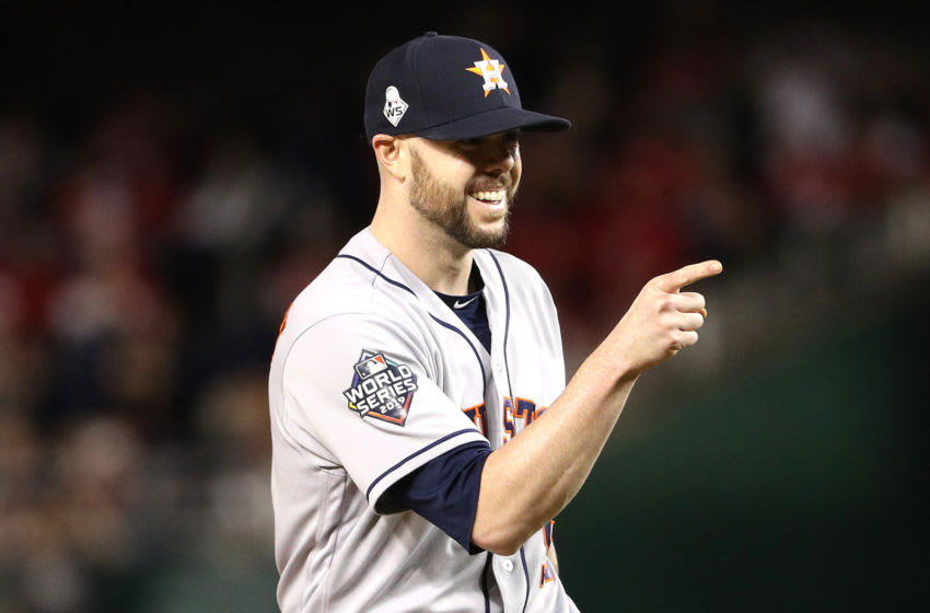 WASHINGTON, DC - OCTOBER 27: Ryan Pressly #55 of the Houston Astros celebrates his teams 7-1 win over the Washington Nationals in Game Five of the 2019 World Series at Nationals Park on October 27, 2019 in Washington, DC. (Photo by Patrick Smith/Getty Images)