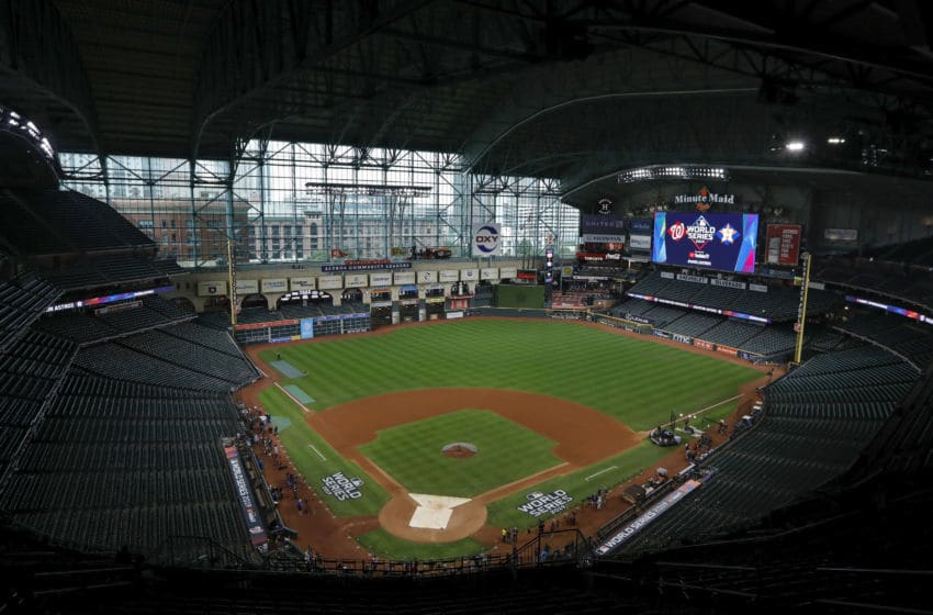 HOUSTON, TX - OCTOBER 30: A general view of the stadium before Game Seven of the 2019 World Series between the Houston Astros and the Washington Nationals at Minute Maid Park on October 30, 2019 in Houston, Texas. (Photo by Tim Warner/Getty Images)