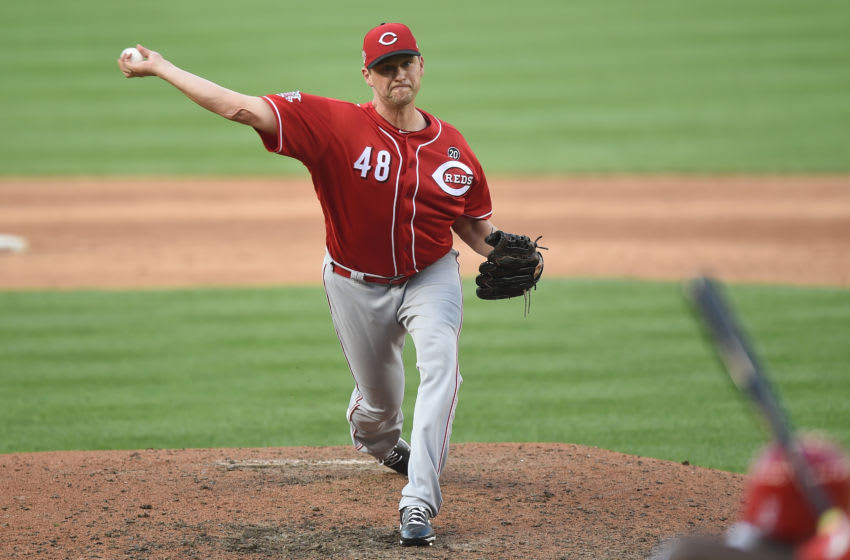 WASHINGTON, DC - AUGUST 14: Jared Hughes #48 of the Cincinnati Reds pitches against the Washington Nationals at Nationals Park on August 14, 2019 in Washington, DC. (Photo by G Fiume/Getty Images)