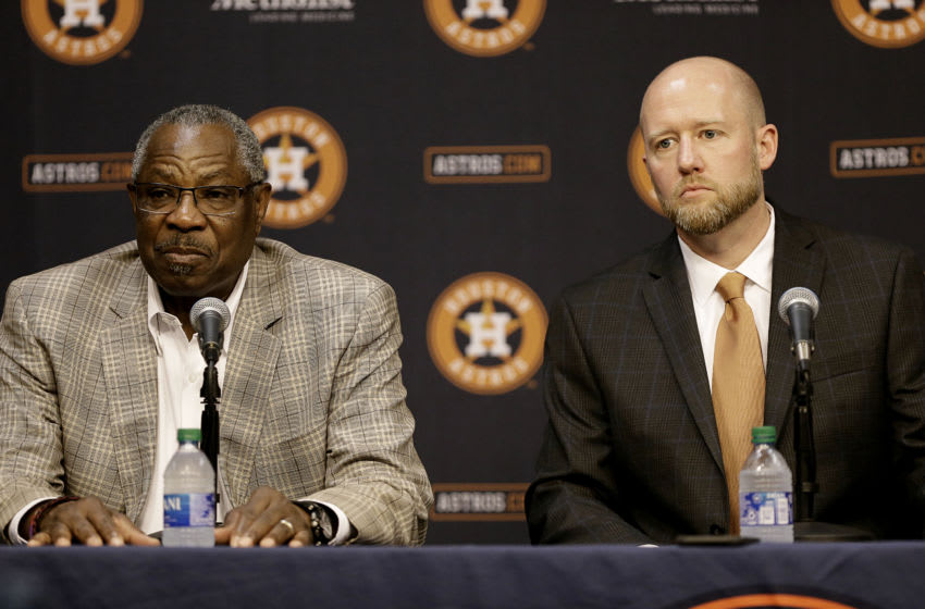 Dusty Baker, left, and new Houston Astros general manager James Click take questions from the media at Minute Maid Park on February 04, 2020 in Houston, Texas. (Photo by Bob Levey/Getty Images)