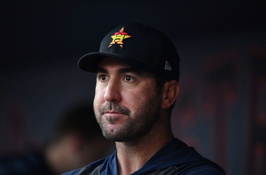 WEST PALM BEACH, FLORIDA - FEBRUARY 22: Justin Verlander #35 of the Houston Astros looks on during the spring training game against the Washington Nationals at FITTEAM Ballpark of the Palm Beaches on February 22, 2020 in West Palm Beach, Florida. (Photo by Mark Brown/Getty Images)