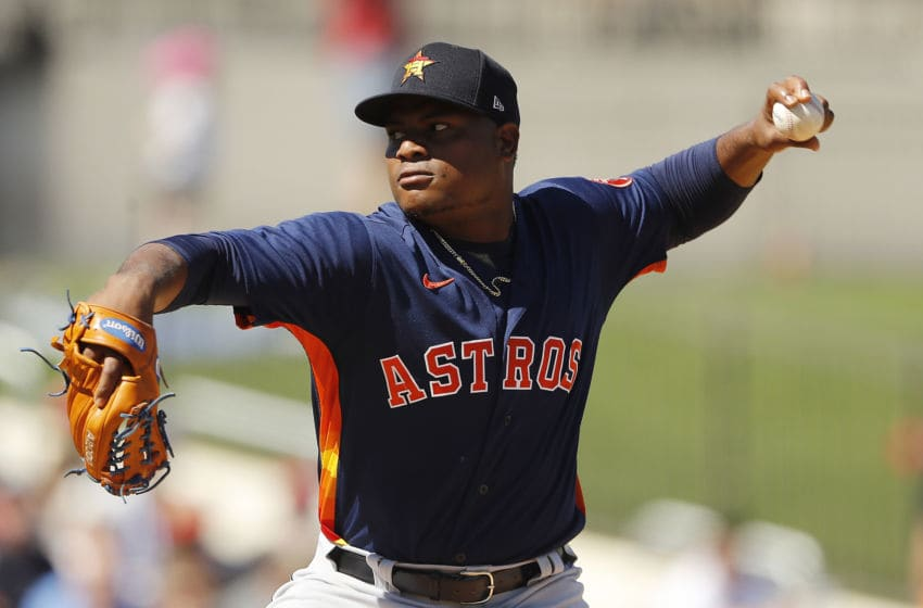WEST PALM BEACH, FLORIDA - FEBRUARY 23: Framber Valdez #59 of the Houston Astros delivers a pitch in the first inning against the Washington Nationals of a Grapefruit League spring training game at FITTEAM Ballpark of The Palm Beaches on February 23, 2020 in West Palm Beach, Florida. (Photo by Michael Reaves/Getty Images)