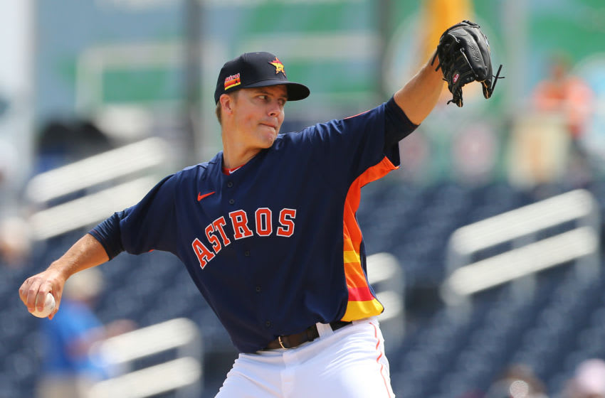 WEST PALM BEACH, FL - MARCH 09: Zack Greinke #21 of the Houston Astros in action against the Detroit Tigers during a spring training baseball game at FITTEAM Ballpark of the Palm Beaches on March 9, 2020 in West Palm Beach, Florida. The Astros defeated the Tigers 2-1. (Photo by Rich Schultz/Getty Images)
