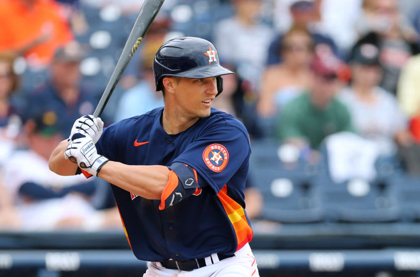 WEST PALM BEACH, FL - MARCH 09: Dustin Garneau #13 of the Houston Astros in action against the Detroit Tigers during a spring training baseball game at FITTEAM Ballpark of the Palm Beaches on March 9, 2020 in West Palm Beach, Florida. The Astros defeated the Tigers 2-1. (Photo by Rich Schultz/Getty Images)