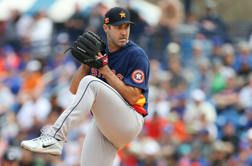 PORT ST. LUCIE, FL - MARCH 08: Justin Verlander #35 of the Houston Astros in action against the New York Mets during a spring training baseball game at Clover Park on March 8, 2020 in Port St. Lucie, Florida. The Mets defeated the Astros 3-1. (Photo by Rich Schultz/Getty Images)