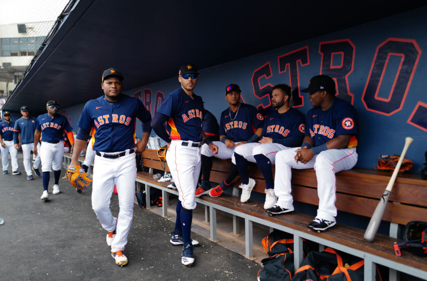 WEST PALM BEACH, FLORIDA - MARCH 10: Houston Astros sit in the dugout during the spring training game against the New York Mets at FITTEAM Ballpark of The Palm Beaches on March 10, 2020 in West Palm Beach, Florida. (Photo by Mark Brown/Getty Images)