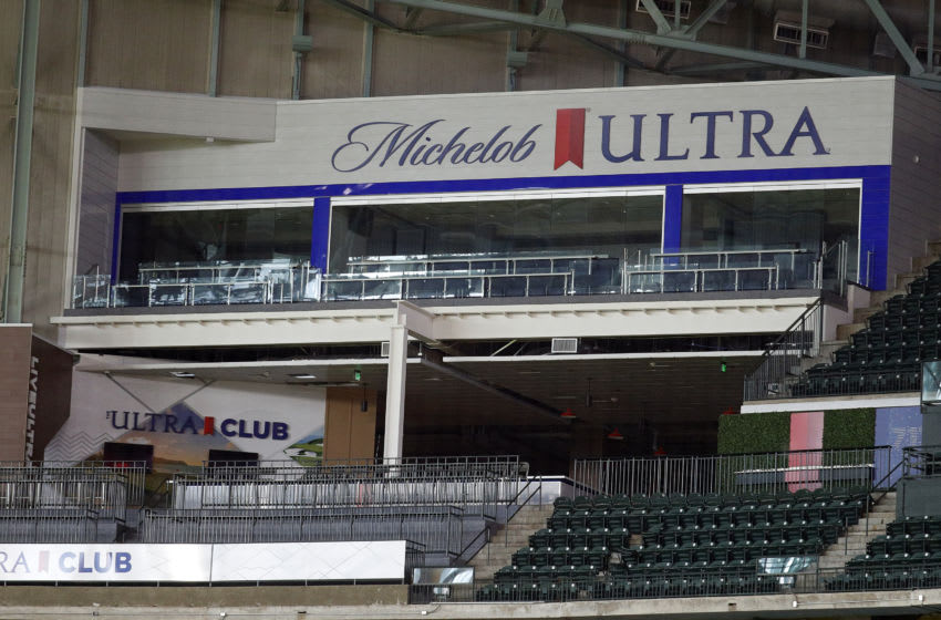 HOUSTON, TEXAS - JULY 04: The new Michelob Ultra Club in right field during day 2 of Summer Workouts at Minute Maid Park on July 04, 2020 in Houston, Texas. (Photo by Bob Levey/Getty Images)