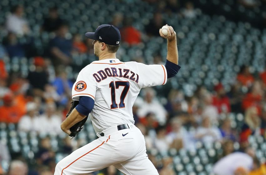 HOUSTON, TEXAS - JUNE 03: Jake Odorizzi #17 of the Houston Astros pitches in the first inning against the Boston Red Sox at Minute Maid Park on June 03, 2021 in Houston, Texas. (Photo by Bob Levey/Getty Images)