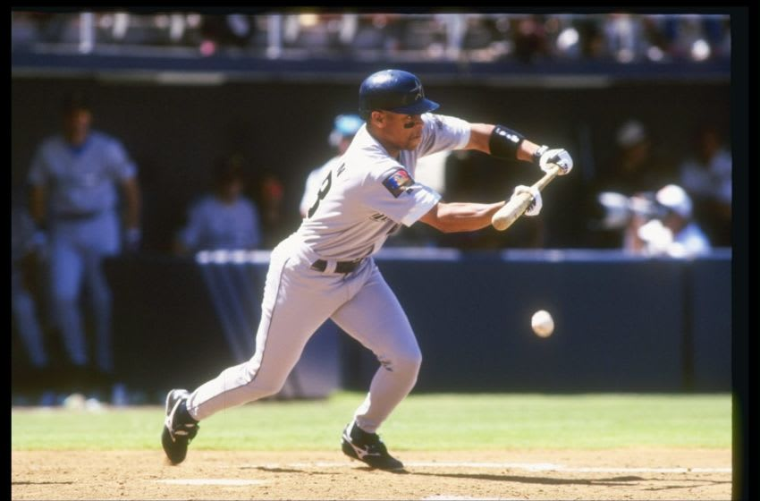 19 Jun 1994: James Mouton of the Houston Astros swings at the ball during a game against the San Diego Padres at Jack Murphy Stadium in San Diego, California. Mandatory Credit: Jed Jacobsohn /Allsport