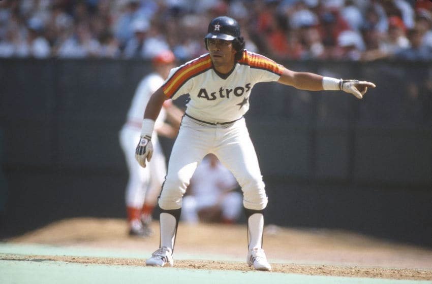 CINCINNATI, OH - CIRCA 1980: Outfielder Jose Cruz #25 of the Houston Astros leads off of first base against the Cincinnati Reds during an Major League Baseball game circa 1980 at Riverfront Stadium in Cincinnati, Ohio. Cruz played for the Astros from 1975-87. (Photo by Focus on Sport/Getty Images)