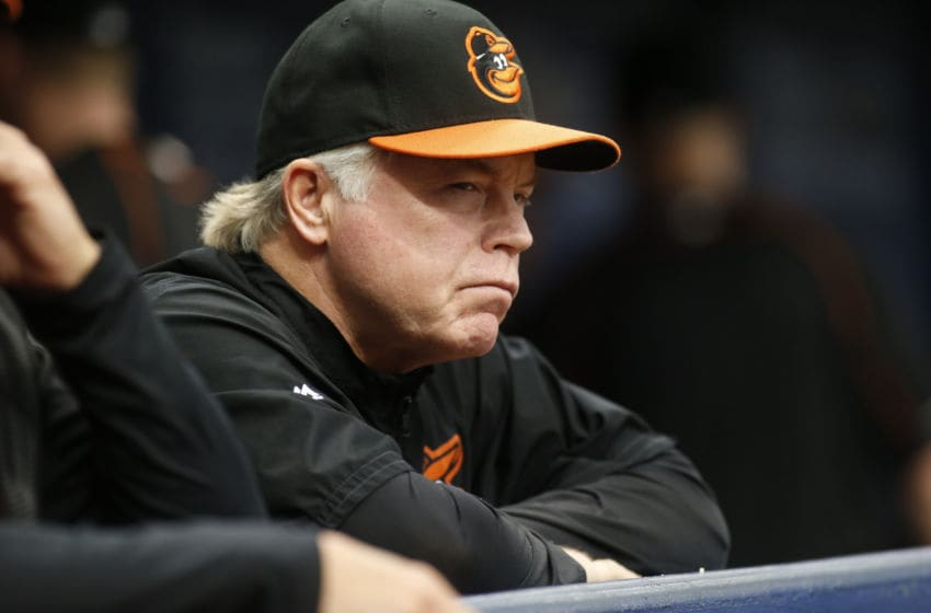 ST. PETERSBURG, FL - SEPTEMBER 7: Manager Buck Showalter #26 of the Baltimore Orioles watches the action during the third inning of a game against the Tampa Bay Rays on September 7, 2016 at Tropicana Field in St. Petersburg, Florida. (Photo by Brian Blanco/Getty Images)
