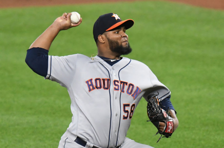 BALTIMORE, MD - JULY 22: Francis Martes #58 of the Houston Astros pitches during a baseball game against the Baltimore Orioles at Oriole Park at Camden Yards on July 22, 2017 in Baltimore, Maryland. The Astros won 8-4. (Photo by Mitchell Layton/Getty Images)