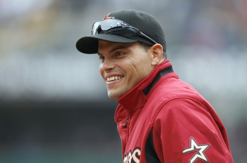 PITTSBURGH - APRIL 13: Ivan Rodriguez #12 of the Houston Astros smiles during the Opening Day game against the Pittsburgh Pirates at PNC Park on April 13, 2009 in Pittsburgh, Pennsylvania. (Photo by: Gregory Shamus/Getty Images)