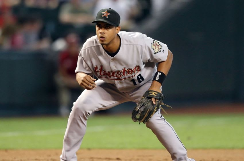 PHOENIX - JUNE 14: Infielder Edwin Maysonet #18 Edwin Maysonet #18 of the Houston Astros in action during the major league baseball game against the Arizona Diamondbacks at Chase Field on June 14, 2009 in Phoenix, Arizona. The Astros defeated the Diamondbacks 8-3. (Photo by Christian Petersen/Getty Images)
