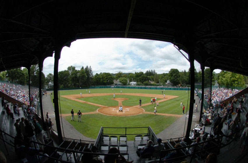 The Tri-City ValleyCats and the Oneonta Tigers square off at Doubleday Field during Baseball Hall of Fame ceremonies July 24, 2004 in Cooperstown, New York. (Photo by A. Messerschmidt/Getty Images) *** Local Caption ***
