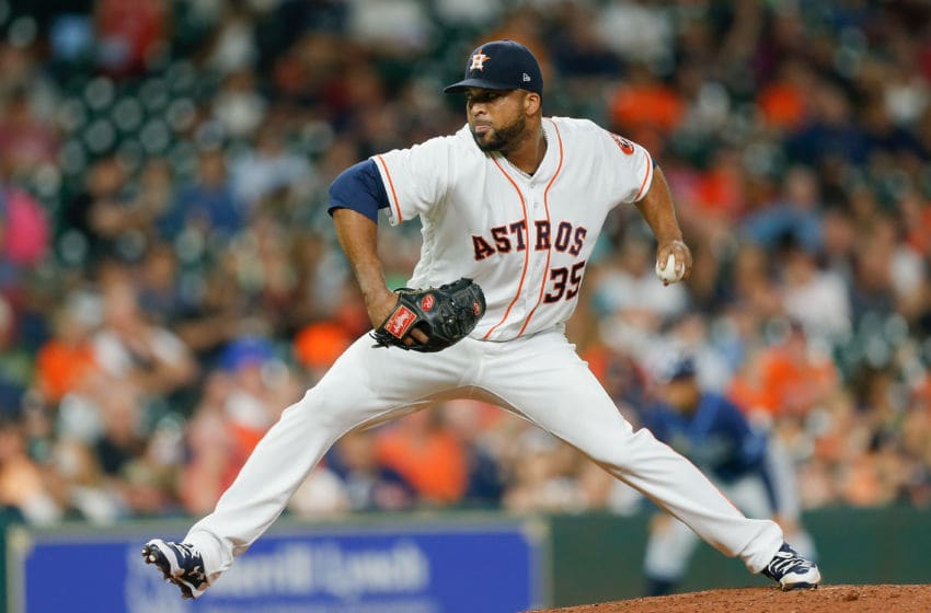 HOUSTON, TX - AUGUST 03: Francisco Liriano #35 of the Houston Astros pitches in the seventh inning against the Tampa Bay Rays at Minute Maid Park on August 3, 2017 in Houston, Texas. (Photo by Bob Levey/Getty Images)