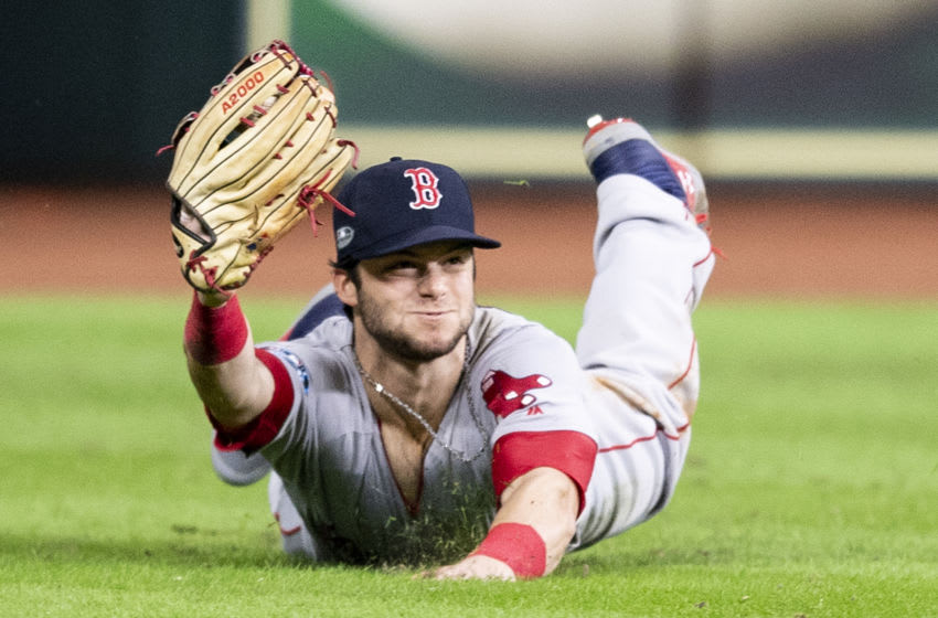 HOUSTON, TX - OCTOBER 17: Andrew Benintendi #16 of the Boston Red Sox catches the final out of the game during the ninth inning of game four of the American League Championship Series against the Houston Astros on October 17, 2018 at Minute Maid Park in Houston, Texas. (Photo by Billie Weiss/Boston Red Sox/Getty Images)