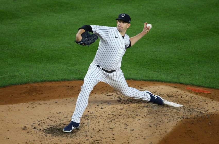 NEW YORK, NEW YORK - AUGUST 15: James Paxton #65 of the New York Yankees in action against the Boston Red Sox at Yankee Stadium on August 15, 2020 in New York City. New York Yankees defeated the Boston Red Sox 11-5. (Photo by Mike Stobe/Getty Images)