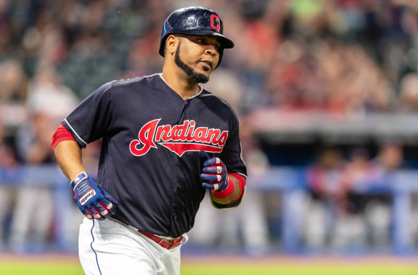 CLEVELAND, OH - SEPTEMBER 14: Edwin Encarnacion #10 of the Cleveland Indians rounds the bases on a solo home run during the sixth inning against the Detroit Tigers at Progressive Field on September 14, 2018 in Cleveland, Ohio. (Photo by Jason Miller/Getty Images)