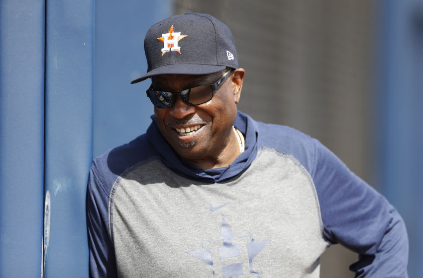WEST PALM BEACH, FLORIDA - FEBRUARY 18: Dusty Baker #12 of the Houston Astros looks on during a team workout at FITTEAM Ballpark of The Palm Beaches on February 18, 2020 in West Palm Beach, Florida. (Photo by Michael Reaves/Getty Images)
