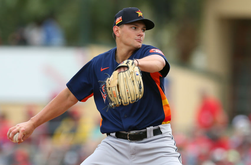 JUPITER, FL - MARCH 07: Brandon Bielak #71 of the Houston Astros in action against the St. Louis Cardinals during a spring training baseball game at Roger Dean Chevrolet Stadium on March 7, 2020 in Jupiter, Florida. The Cardinals defeated the Astros 5-1. (Photo by Rich Schultz/Getty Images)