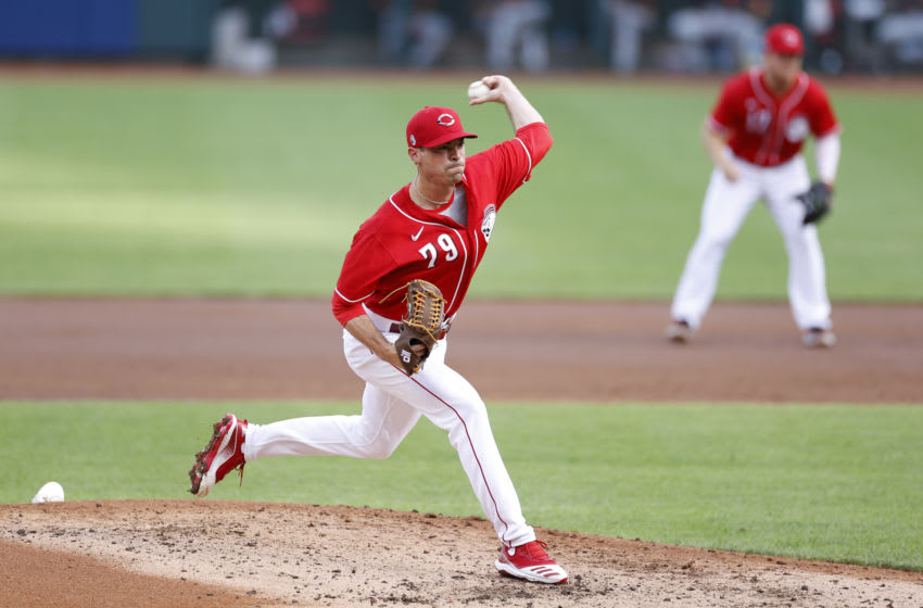 CINCINNATI, OH - JULY 22: Brooks Raley #79 of the Cincinnati Reds pitches during an exhibition game against the Detroit Tigers at Great American Ball Park on July 22, 2020 in Cincinnati, Ohio. The Reds defeated the Tigers 2-1. (Photo by Joe Robbins/Getty Images)