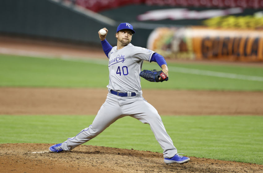 Trevor Rosenthal #40 of the Kansas City Royals pitches during a game against the Cincinnati Reds at Great American Ball Park on August 12, 2020 in Cincinnati, Ohio. The Royals defeated the Reds 5-4. (Photo by Joe Robbins/Getty Images)