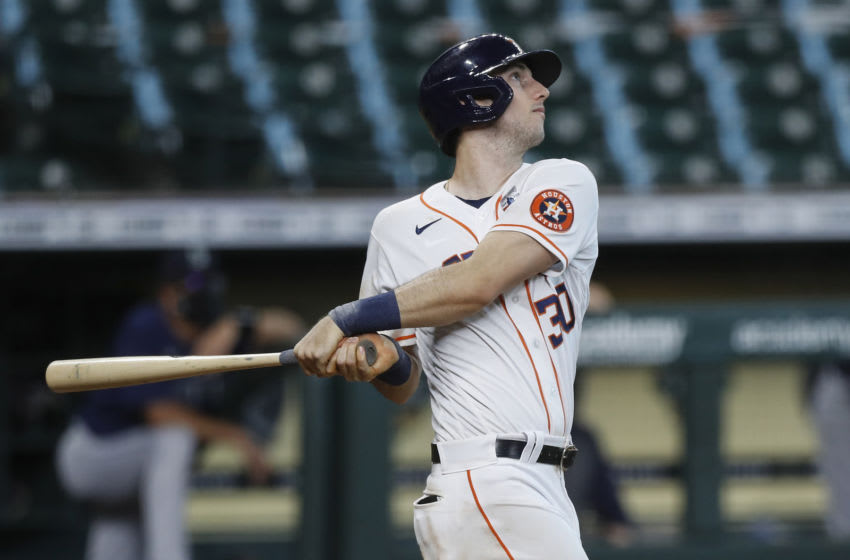 HOUSTON, TEXAS - AUGUST 16: Kyle Tucker #30 of the Houston Astros hits a walk off home run in the ninth inning against the Seattle Mariners at Minute Maid Park on August 16, 2020 in Houston, Texas. (Photo by Tim Warner/Getty Images)
