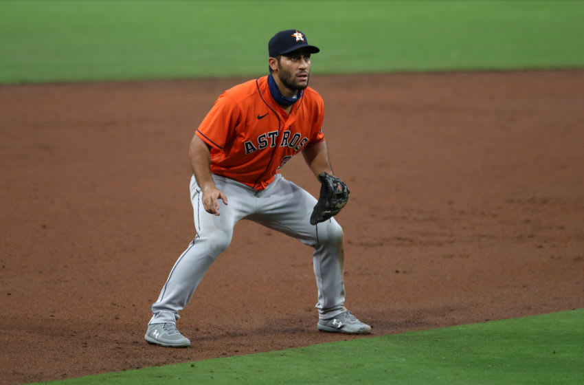 SAN DIEGO, CA - AUGUST 21: Abraham Toro #31 of the Houston Astros plays third base during the game against the San Diego Padres at Petco Park on August 21, 2020 in San Diego, California. The Padres defeated the Astros 4-3. (Photo by Rob Leiter/MLB Photos via Getty Images)