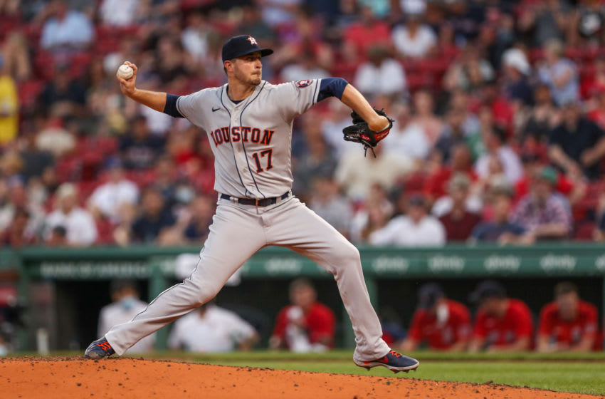 Jun 9, 2021; Boston, Massachusetts, USA; Houston Astros starting pitcher Jake Odorizzi (17) throws a pitch during the third inning against the Boston Red Sox at Fenway Park. Mandatory Credit: Paul Rutherford-USA TODAY Sports