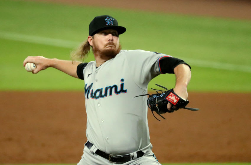 Sep 8, 2020; Atlanta, Georgia, USA; Miami Marlins relief pitcher Ryne Stanek (55) delivers a pitch to an Atlanta Braves batter in the ninth inning at Truist Park. Mandatory Credit: Jason Getz-USA TODAY Sports