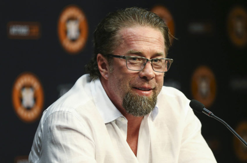Aug 5, 2017; Houston, TX, USA; Former Houston Astros player and Hall of Fame member Jeff Bagwell talks during a press conference before a game against the Toronto Blue Jays at Minute Maid Park. Mandatory Credit: Troy Taormina-USA TODAY Sports