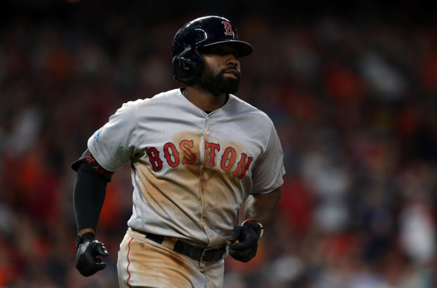 Jackie Bradley Jr. (19) after hitting an 2 RBI home run during the sixth inning against the Houston Astros in game four of the 2018 ALCS playoff baseball series at Minute Maid Park. Mandatory Credit: Thomas B. Shea-USA TODAY Sports