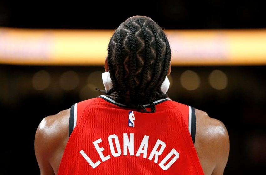 PORTLAND, OR - DECEMBER 14: Kawhi Leonard #2 of the Toronto Raptors against the Portland Trail Blazers at Moda Center on December 14, 2018 in Portland, Oregon. NOTE TO USER: User expressly acknowledges and agrees that, by downloading and or using this photograph, User is consenting to the terms and conditions of the Getty Images License Agreement. (Photo by Jonathan Ferrey/Getty Images)