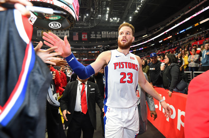 LOS ANGELES, CA - JANUARY 12: Blake Griffin #23 of the Detroit Pistons hi-fives fans as his exits the court after the game against the LA Clippers on January 12, 2019 at STAPLES Center in Los Angeles, California. NOTE TO USER: User expressly acknowledges and agrees that, by downloading and/or using this photograph, user is consenting to the terms and conditions of the Getty Images License Agreement. Mandatory Copyright Notice: Copyright 2019 NBAE (Photo by Andrew D. Bernstein/NBAE via Getty Images)