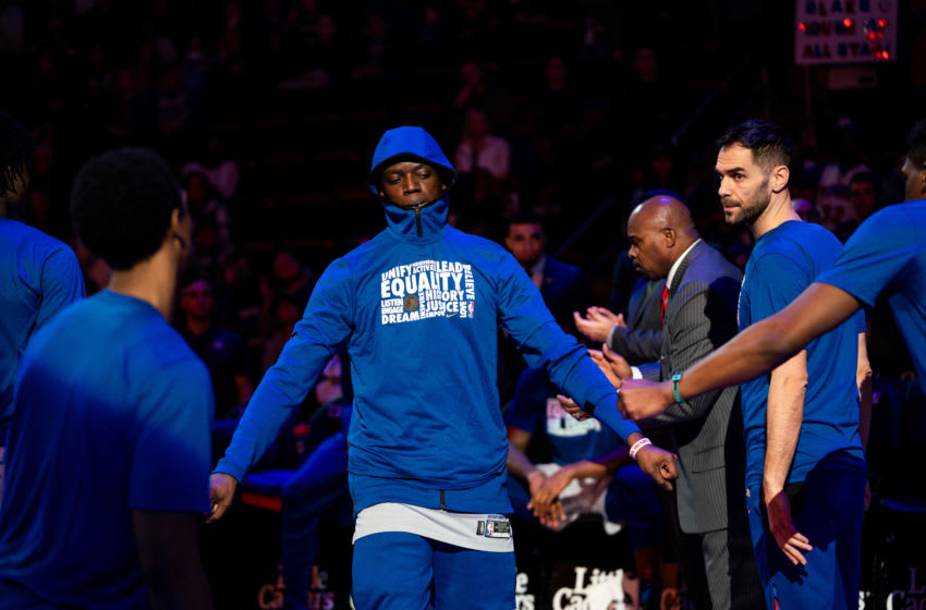 DETROIT, MICHIGAN - FEBRUARY 02: Reggie Jackson of the Detroit Pistons is introduced before a game against the Los Angeles Clippers at Little Caesars Arena on February 02, 2019 in Detroit, Michigan. (Photo by Cassy Athena/Getty Images)