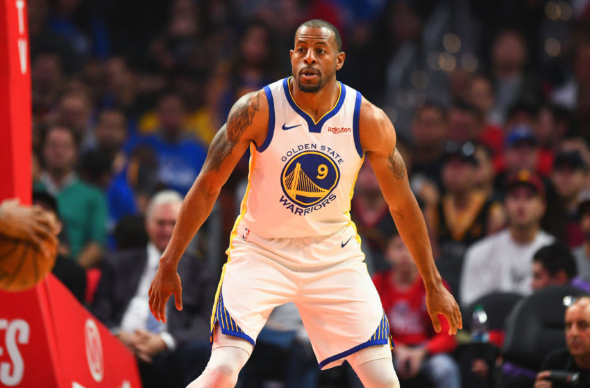 LOS ANGELES, CA - APRIL 21: Golden State Warriors Guard Andre Iguodala (9) looks on on defense during game four of the first round of the 2019 NBA Playoffs between the Golden State Warriors and the Los Angeles Clippers on April 21, 2019 at Staples Center in Los Angeles, CA. (Photo by Brian Rothmuller/Icon Sportswire via Getty Images)