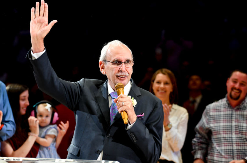 LOS ANGELES, CALIFORNIA - APRIL 10: Clippers broadcaster Ralph Lawler retires after 40 years of broadcasting during a basketball game between the Los Angeles Clippers and the Utah Jazz at Staples Center on April 10, 2019 in Los Angeles, California. (Photo by Allen Berezovsky/Getty Images)