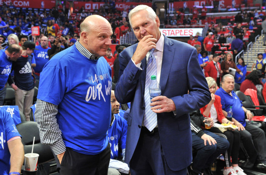 LOS ANGELES, CALIFORNIA - APRIL 18: Steve Ballmer and Jerry West attend an NBA playoffs basketball game between the Los Angeles Clippers and the Golden State Warriors at Staples Center on April 18, 2019 in Los Angeles, California. (Photo by Allen Berezovsky/Getty Images)