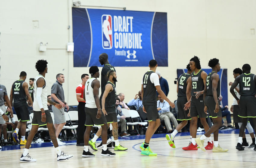 CHICAGO, ILLINOIS - MAY 16: Players shake hands following a game during Day One of the NBA Draft Combine at Quest MultiSport Complex on May 16, 2019 in Chicago, Illinois. NOTE TO USER: User expressly acknowledges and agrees that, by downloading and or using this photograph, User is consenting to the terms and conditions of the Getty Images License Agreement. (Photo by Stacy Revere/Getty Images)