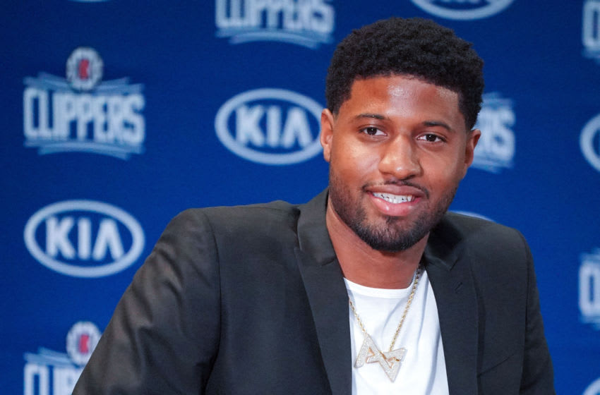 LOS ANGELES, CA - JULY 24: New Clippers player Paul George speaks at a press conference at the Green Meadows Recreation Center in Los Angeles on Wednesday, July 24, 2019. George and Leonard were introduced to the media and fans as the newest members of the Clippers. (Photo by Scott Varley/MediaNews Group/Daily Breeze via Getty Images)