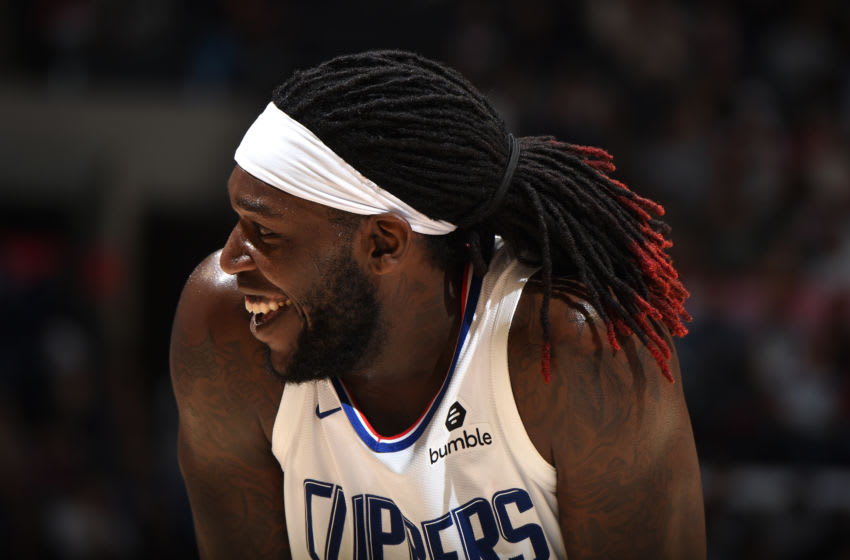 LOS ANGELES, CA - OCTOBER 10: Montrezl Harrell #5 of the LA Clippers smiles during the game against the Denver Nuggets during the preseaspn on October 10, 2019 at STAPLES Center in Los Angeles, California. NOTE TO USER: User expressly acknowledges and agrees that, by downloading and/or using this Photograph, user is consenting to the terms and conditions of the Getty Images License Agreement. Mandatory Copyright Notice: Copyright 2019 NBAE (Photo by Adam Pantozzi/NBAE via Getty Images)