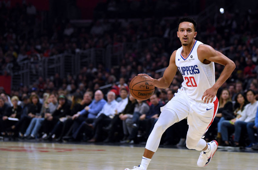 LOS ANGELES, CALIFORNIA - NOVEMBER 11: Landry Shamet #20 of the LA Clippers dribbles during a 98-88 Clippers win over the Toronto Raptors at Staples Center on November 11, 2019 in Los Angeles, California. NOTE TO USER: User expressly acknowledges and agrees that, by downloading and/or using this photograph, user is consenting to the terms and conditions of the Getty Images License Agreement. (Photo by Harry How/Getty Images)