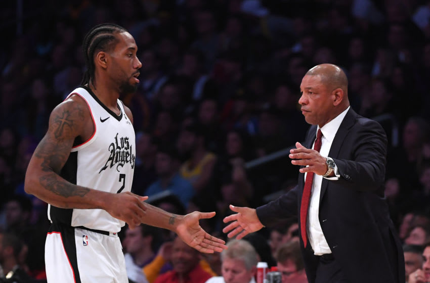 Doc Rivers and Kawhi Leonard of the LA Clippers (Photo by Jayne Kamin-Oncea/Getty Images)